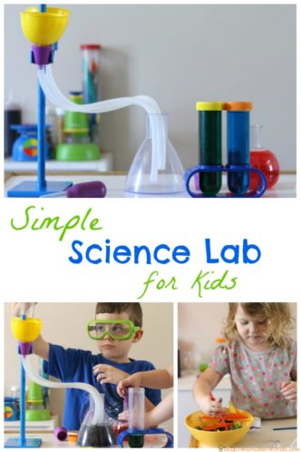 Set up a simple science lab for kids to conduct science investigations.