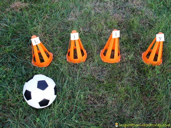 Practice name recognition with a fun soccer game.