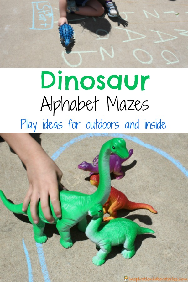 Dinosaur Alphabet Mazes with play ideas for outdoors and inside.