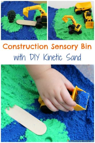 Use this DIY kinetic sand recipe to create a simple construction sensory bin for kids. Inspired by Little Excavator by Anna Dewdney.
