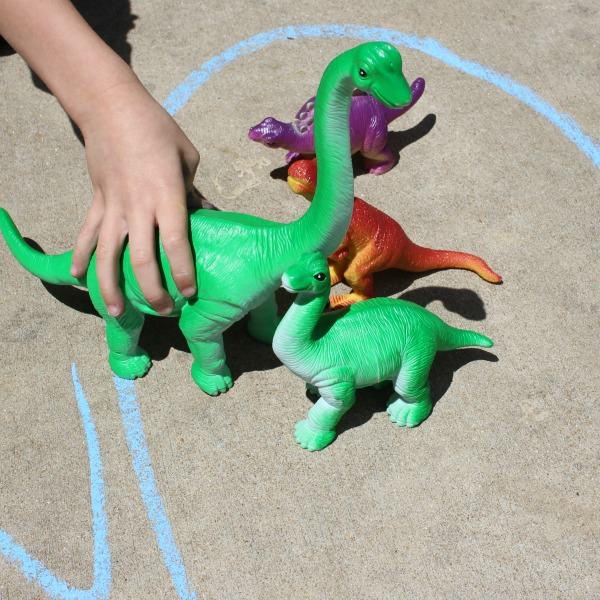 Take the dinosaurs outside for a fun way to practice learning the alphabet.