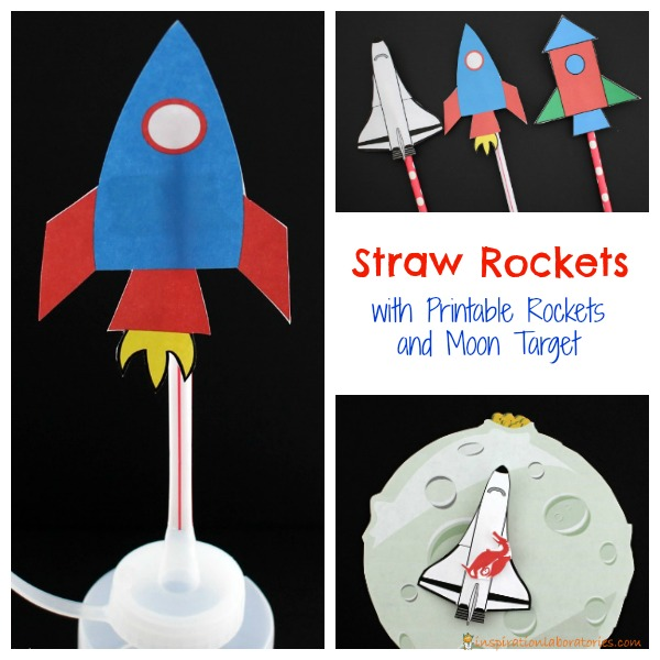 Learn how to make straw rockets. Blastoff the printable rockets and try to land them on the moon.
