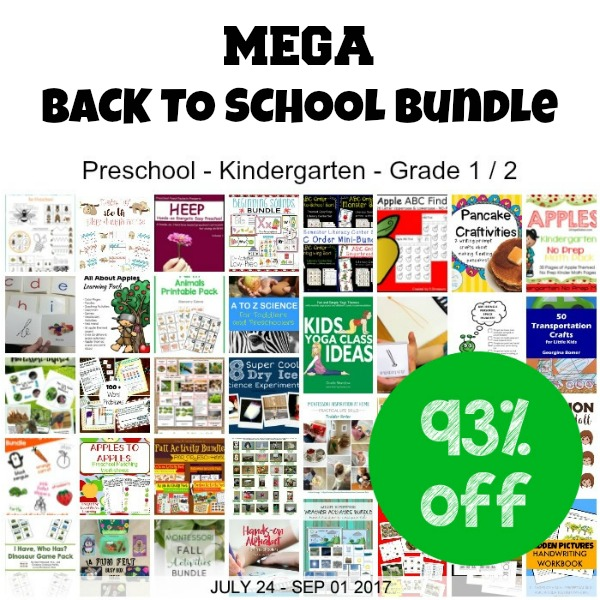 MEGA Back to School Bundle - awesome collection of ebooks, printable packs, and activity ideas for preschool, kindergarten, first grade, and second grade