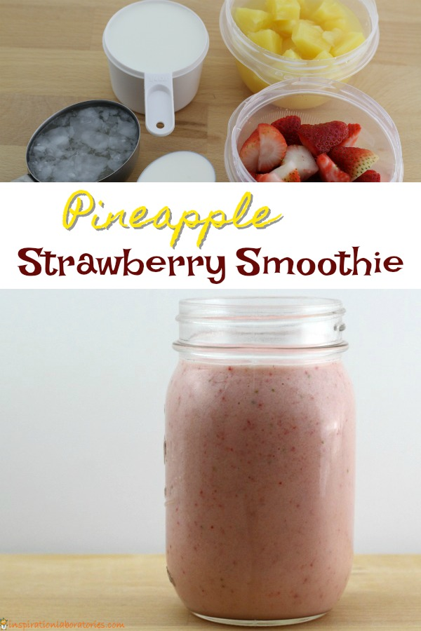 The addition of homemade coconut syrup makes this pineapple strawberry smoothie extra special. This fruity dessert is the perfect summertime treat..