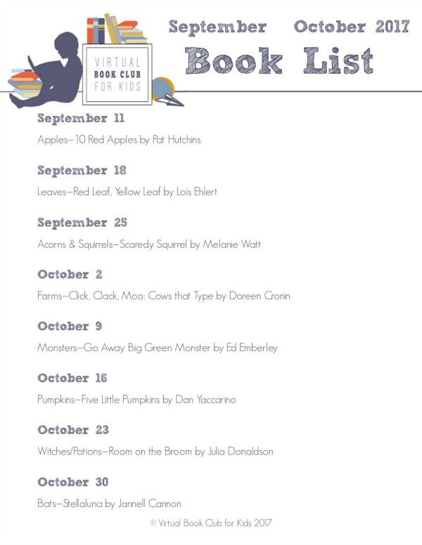 Virtual Book Club for Kids Book List for September and October 2017