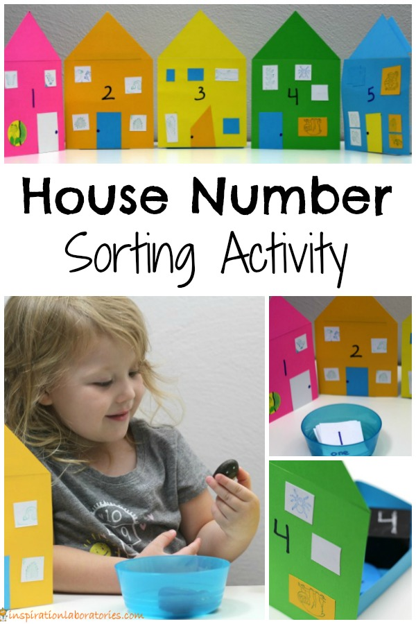 House number sorting activity - use pretend play to practice number recognition, counting, and one to one correspondence