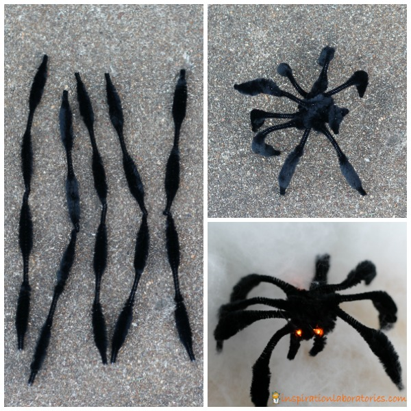 Make a pipe cleaner spider with LED eyes.