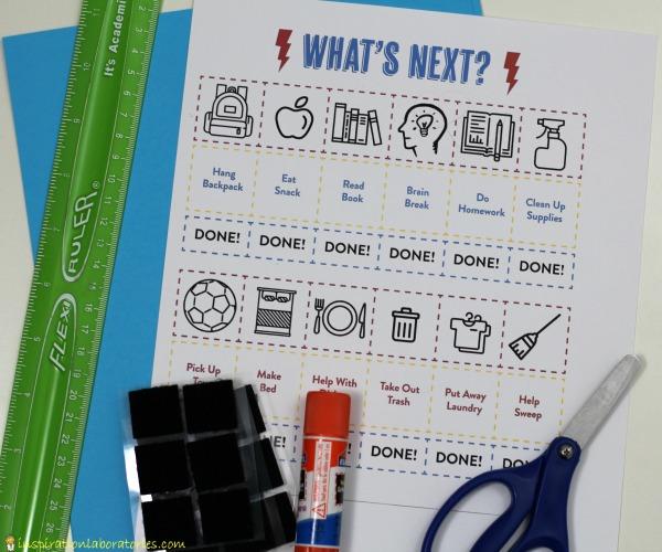 velcro task chart supplies