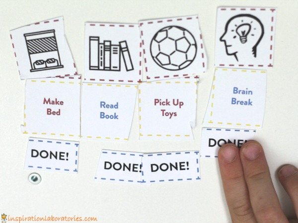 Help kids organize and break down tasks with an easy to make Velcro task chart.