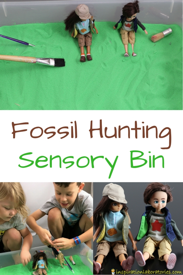 Set up a fossil hunting sensory bin with sand and fossils for your Lottie Dolls.