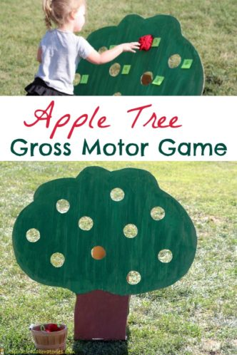 Play an apple tree gross motor game to get kids moving and practicing numbers. Homemade yarn apples add a special touch.