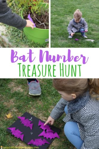 Bat Number Treasure Hunt is a fun way to practice number recognition and counting while getting kids moving.