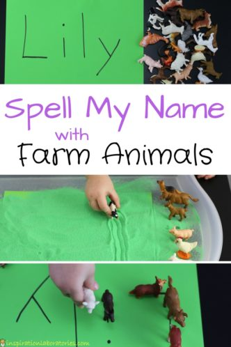 Farm Themed Name Recognition Activities - Practice spelling names with farm animals. This name learning activity is inspired by Click, Clack, Moo Cows That Type by Doreen Cronin
