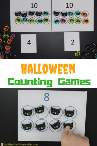Use Halloween themed erasers as math counters for these Halloween Counting Games. They're perfect for preschool and early elementary grades.