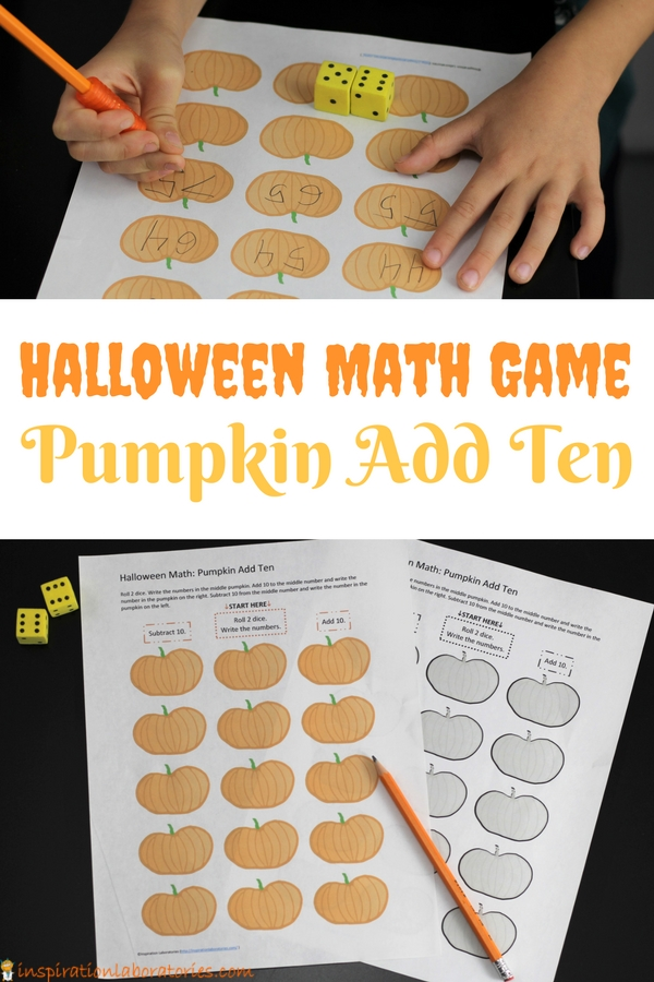 Play a fun Halloween Math Game. Pumpkin Add Ten practices adding and subtracting from any given number.