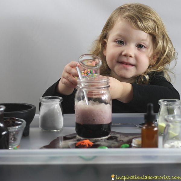 Make fizzy potions with fruit juice inspired by Room on the Broom by Julia Donaldson. A fun Halloween science activity for kids.