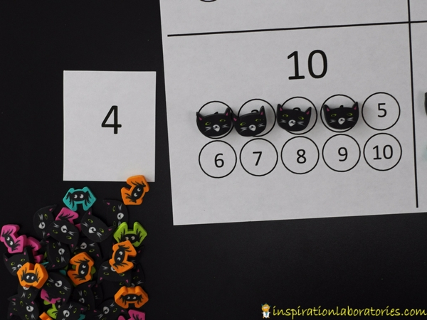 Practice counting and adding to ten with this halloween counting game. Use Halloween themed erasers as math counters.