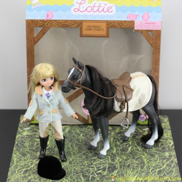 horse small world play with Pony Club® Lottie Doll & Pony Set