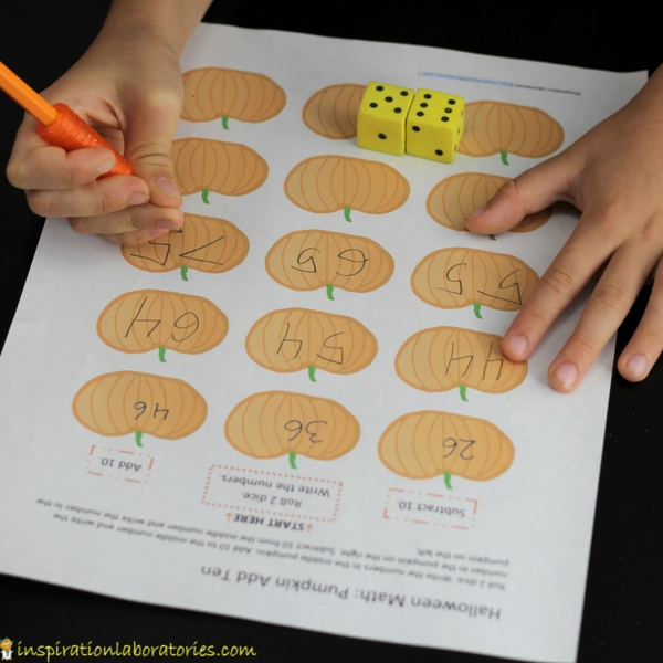 Pumpkin Add Ten is a Halloween math game that practices adding and subtracting tens.