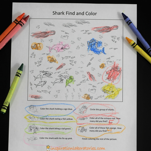 Free printable Shark Find and Color game
