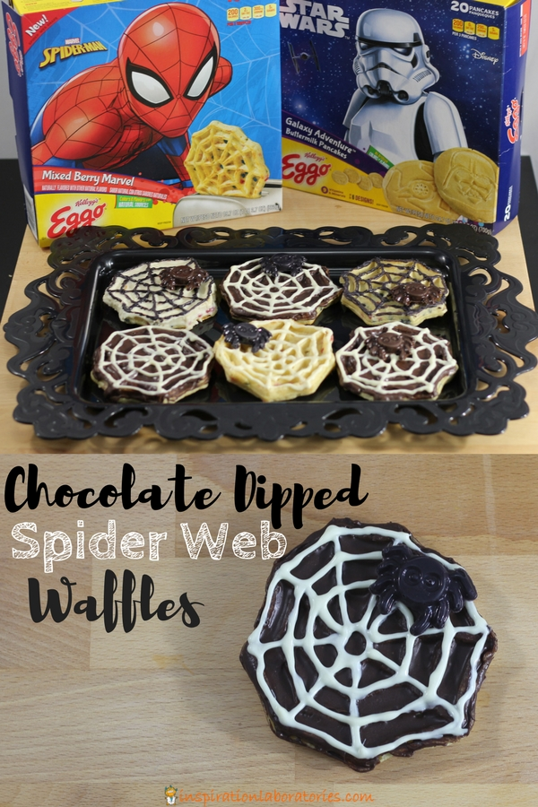 Chocolate dipped spider web waffles make a spooky fun Halloween treat. This spider web dessert is super simple and kids can help make them. Perfect for a Halloween party or a spider web treat for the family. Sponsored by #LeggoMyEggo #HearTheNews [ad]