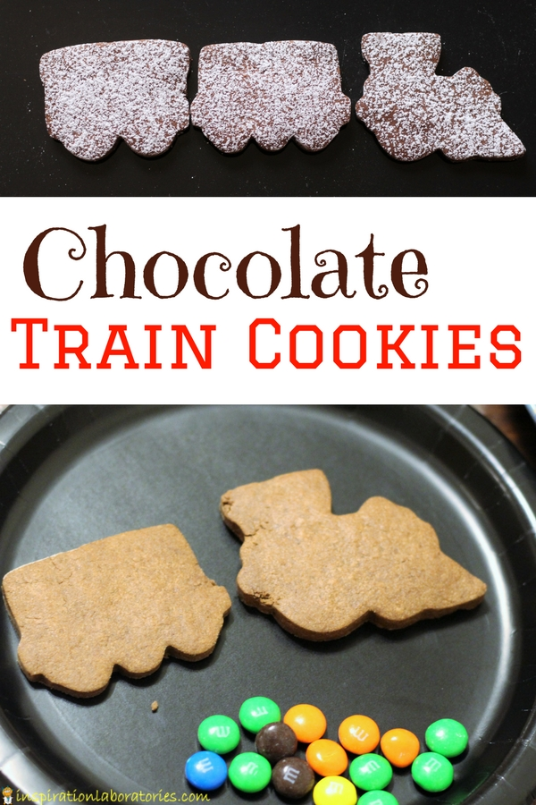 After reading Freight Train by Donald Crews, make Chocolate Train Cookies. They're a delicious chocolate sugar cookie that takes like a brownie. Part of the #vbcforkids #trainactivities for #preschool