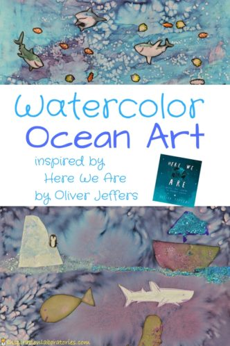 Create watercolor ocean art inspired by Here We Are by Oliver Jeffers.