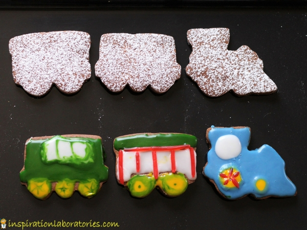 After reading Freight Train by Donald Crews, make Chocolate Train Cookies. They're a delicious chocolate sugar cookie that takes like a brownie.