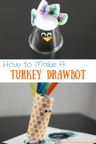 Turn a simple turkey craft into a fun STEAM activity for Thanksgiving. Learn how to make a turkey drawbot.