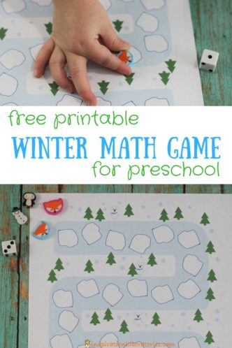 Download the free printable winter math game board to practice counting, subitizing, and turn taking with preschoolers. The game board has polar bears, trees, and icebergs. #wintermath #preschoolmath