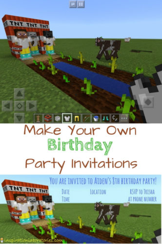 Make your own birthday invitations from a video game screenshot. Minecraft fans will love this idea.