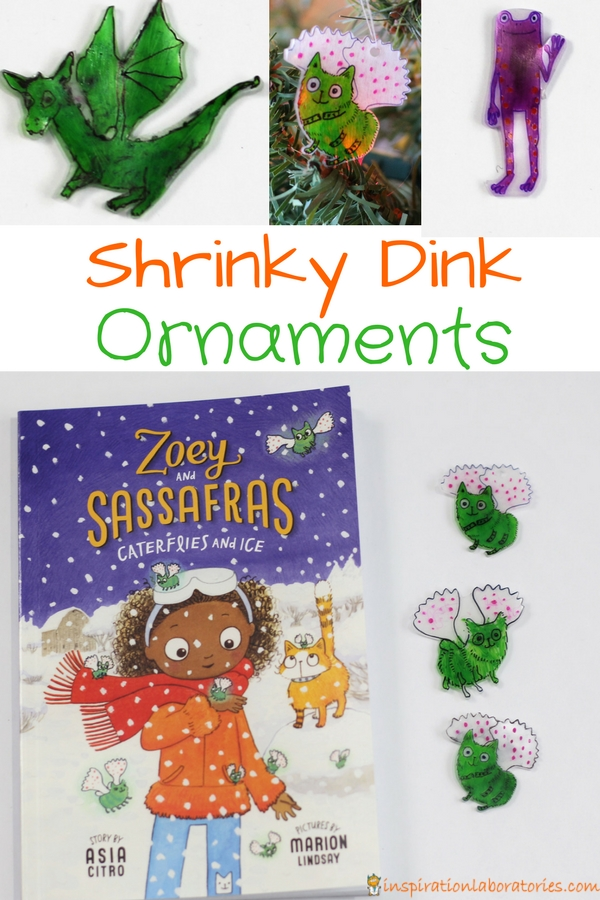 Make Shrinky Dink ornaments for your favorite book characters. Free Zoey and Sassafras printable template available.