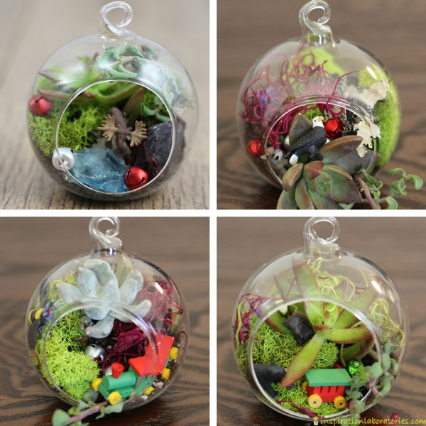 Terrarium ornaments are a great gift idea for gardeners and nature lovers. Perfect for grandmas. Make the terrariums with the kids for an extra special Christmas ornament. #terrarium #terrariumornament #christmasornament