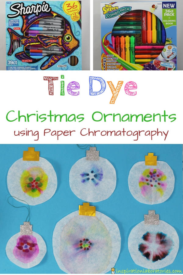 Use Sharpie permanent markers and Mr. Sketch scented markers to make colorful tie dye Christmas ornaments using paper chromatography. This combination of science and art makes for a fantastic STEAM project for kids. Sponsored by #GiveColorfully