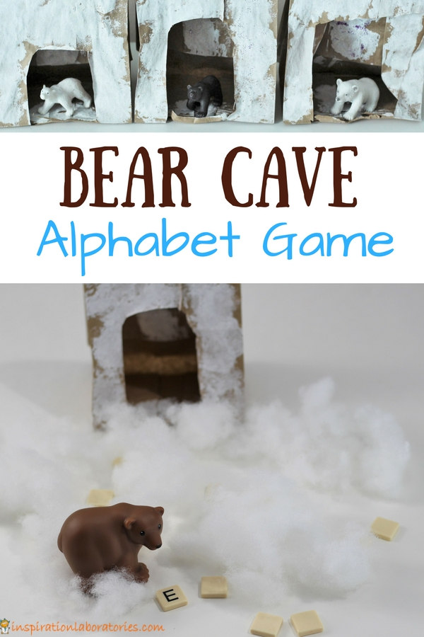 Bear Cave Alphabet Game inspired by Karma Wilson's Bear Snores On - Help bear search for the letters under the snow. Check out all of the bear themed activities in this post for the Virtual Book Club for Kids.