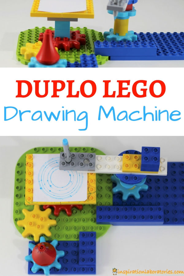Design and build a LEGO drawing machine with DUPLO gears and bricks. Makes a great STEAM project for kids.