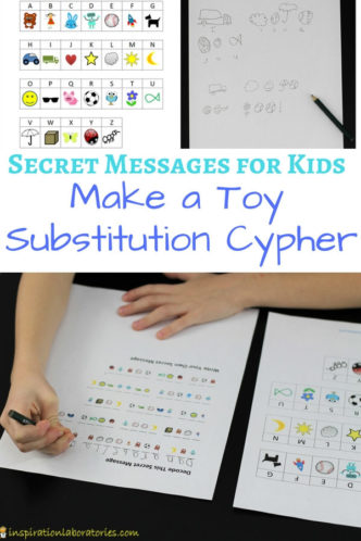 You'll love these secret message ideas for kids. Learn how to make a toy substitution cypher inspired by Spy Toys by Mark Powers. Kids will have fun writing secret codes and cyphers.