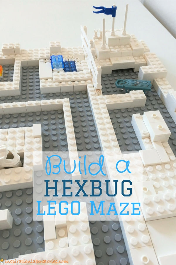 Build a hexbug LEGO maze. This is a great STEM challenge for kids. Use regular LEGO bricks or DUPLO.