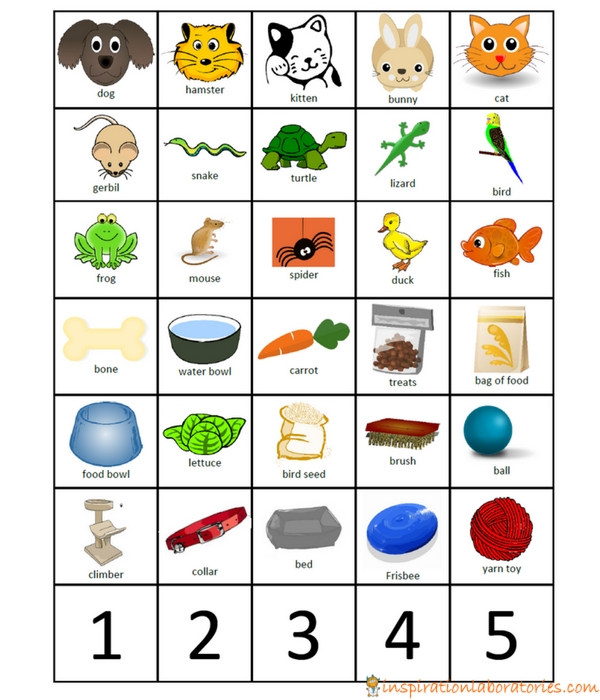 cards for pet store shopping game for preschool