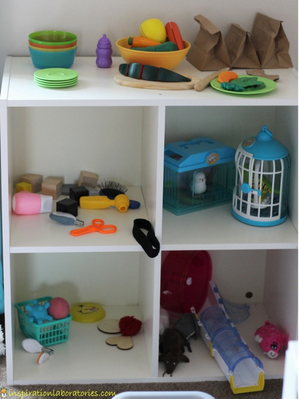 pretend pet store set up in child's play room