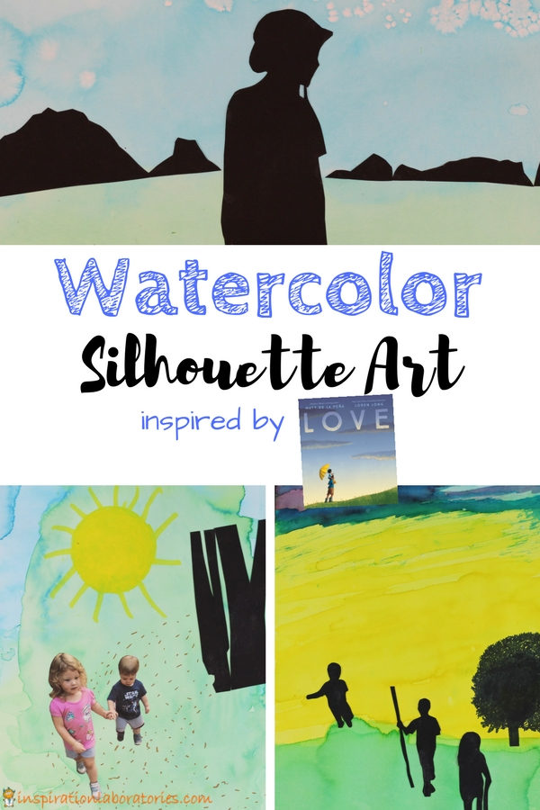 3 pieces of watercolor art with text overlay Watercolor Silhouette Art inspired by Love by Mattdela Peña