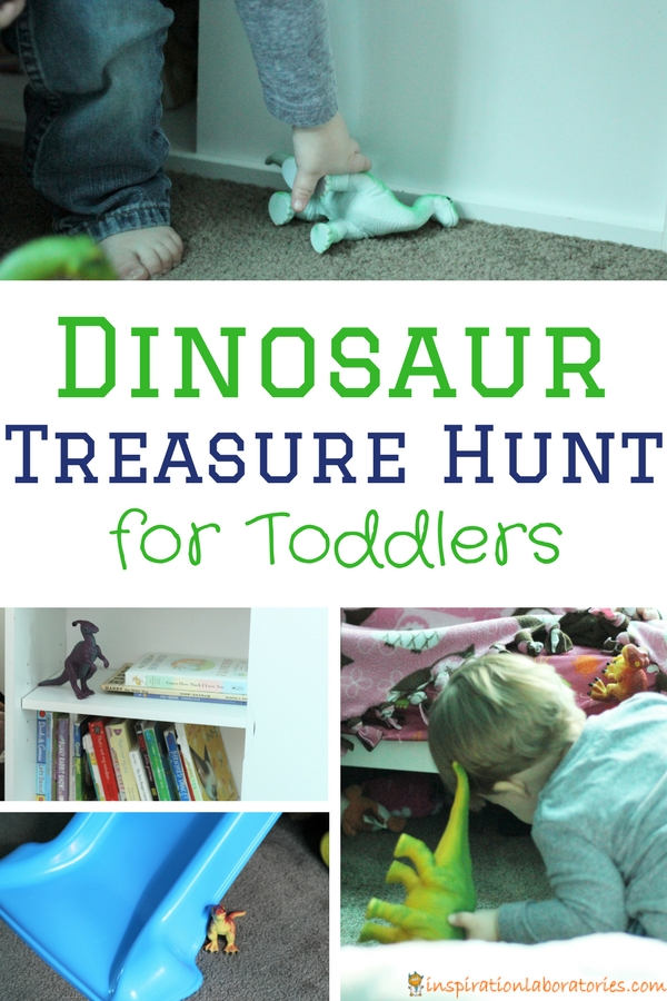 dinosaurs hidden around a room with a toddler searching for them with text overlay Dinosaur Treasure Hunt for Toddlers
