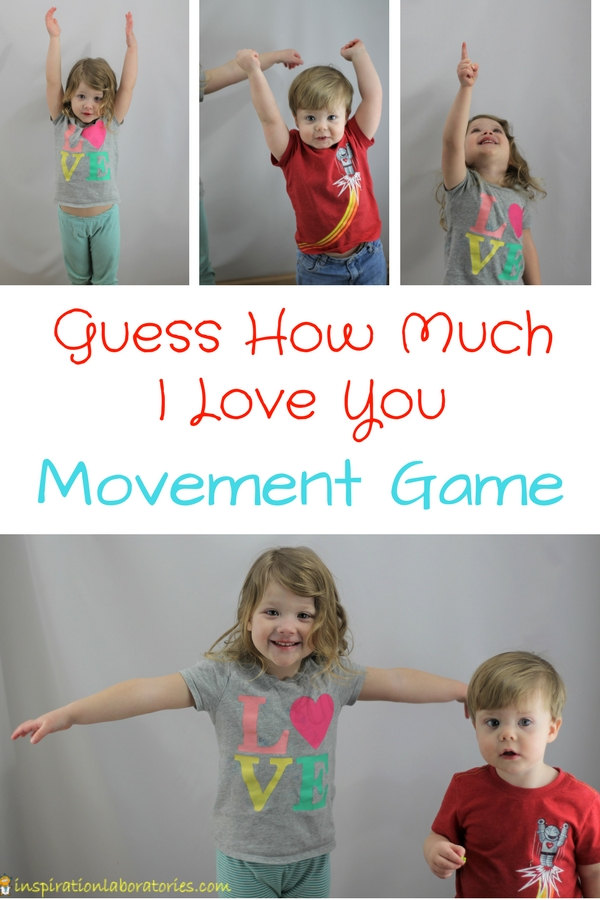 Kids stretching arms with text overlay Guess How Much I Love You Movement Game