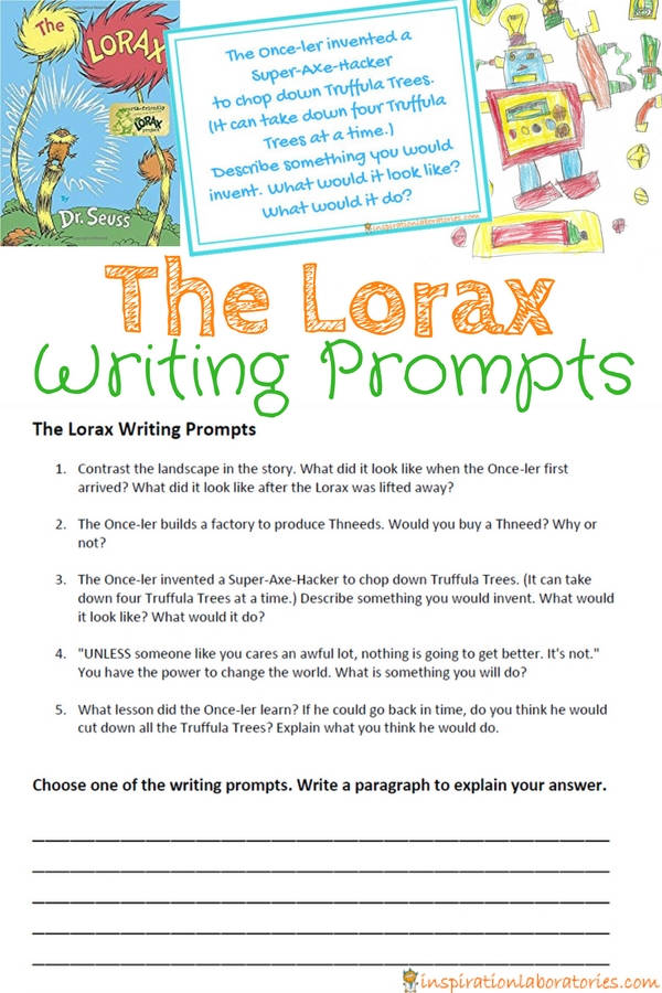The Lorax Writing Prompts Inspiration Laboratories