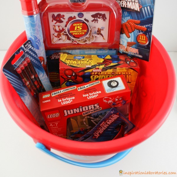 make your own spider man easter basket full of great non candy items