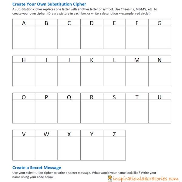 Make a secret code substitution cipher - a fun snack idea