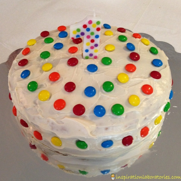 1st birthday polka dot cake decorated with M&M's